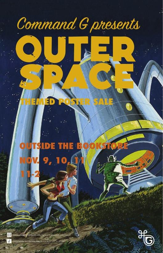 Outer space themed poster sale command g for Outer space poster design